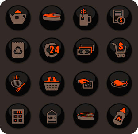 Grocery store color vector icons on dark background for user interface design Illustration