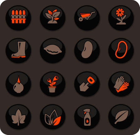 Gardening color vector icons on dark background for user interface design Ilustracja