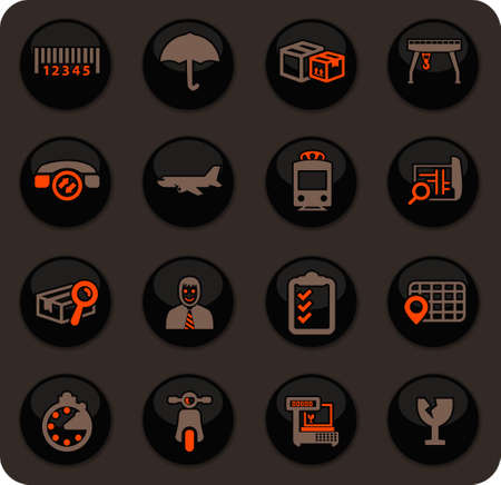 Logistic color vector icons on dark background for user interface design Иллюстрация