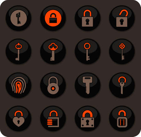 Pirates color vector icons on dark background for user interface design Illustration