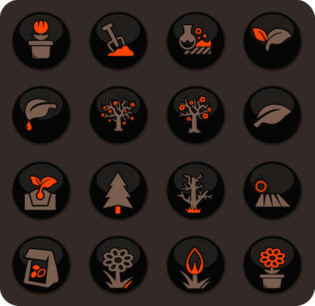 Gardening color vector icons on dark background for user interface design