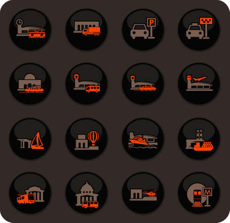 Stations of public transport color vector icons on dark background for user interface design