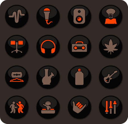 Reggae color vector icons on dark background for user interface design