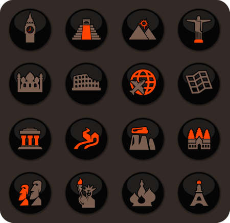 Travel and Wonders color vector icons on dark background for user interface design