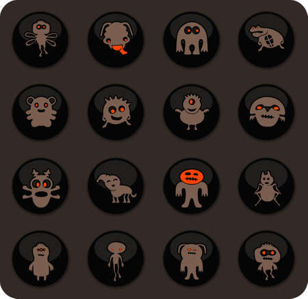 Monster color vector icons on dark background for user interface design