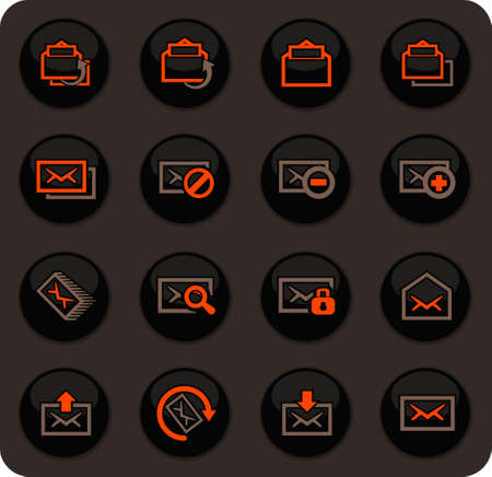 Mail easy color vector icons on dark background for user interface design