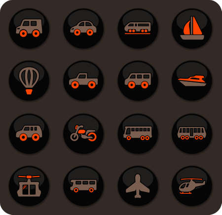 Public transport color vector icons on dark background for user interface design