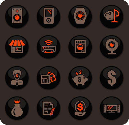 Pawn shop color vector icons on dark background for user interface design