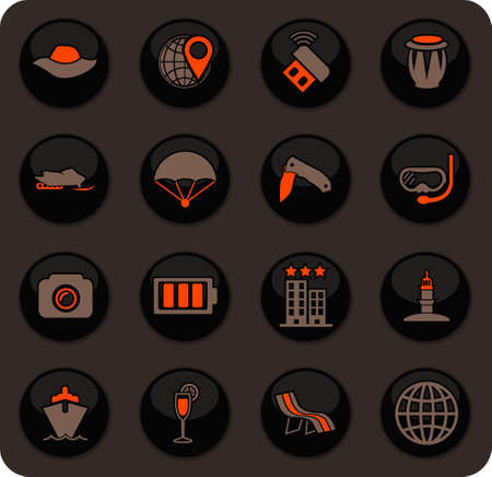 Travel color vector icons on dark background for user interface design