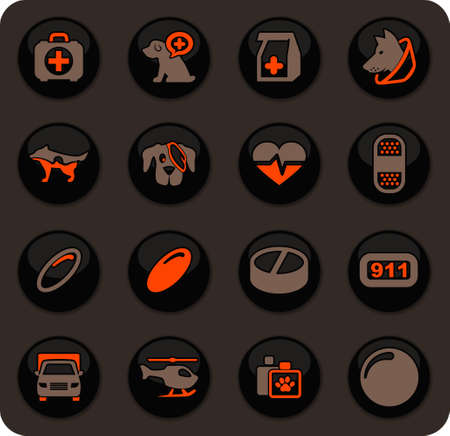 Veterinary clinic color vector icons on dark background for user interface design