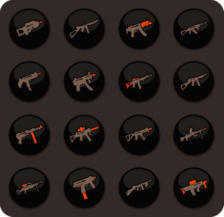 Hand weapons color vector icons on dark background for user interface design Иллюстрация