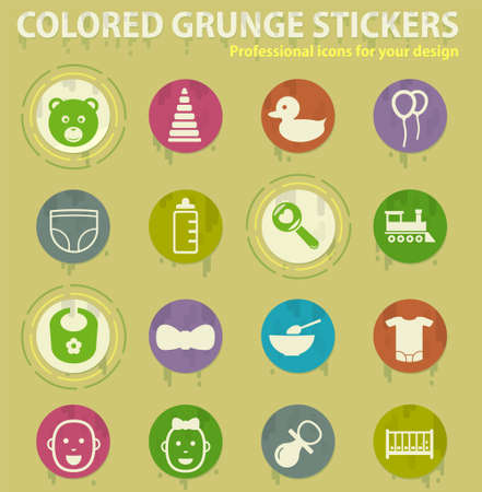 colored grunge icons with sweats glue for design web and mobile applications