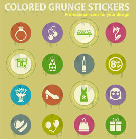 8 march colored grunge icons with sweats glue for design web and mobile applications