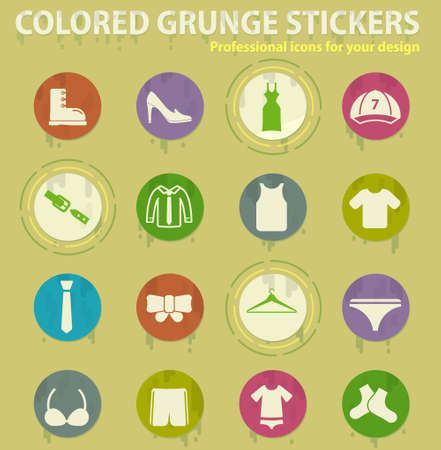 clothes colored grunge icons with sweats glue for design web and mobile applications