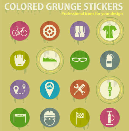 Bycicle colored grunge icons with sweats glue for design web and mobile applications