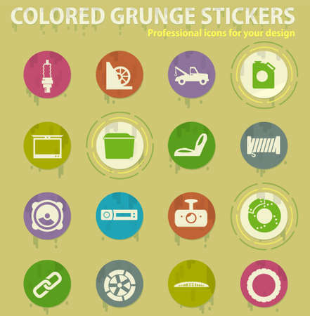 Car shop colored grunge icons with sweats glue for design web and mobile applications