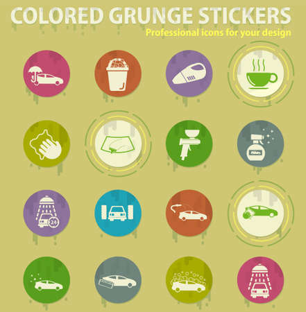 Car wash colored grunge icons with sweats glue for design web and mobile applications Stock Illustratie
