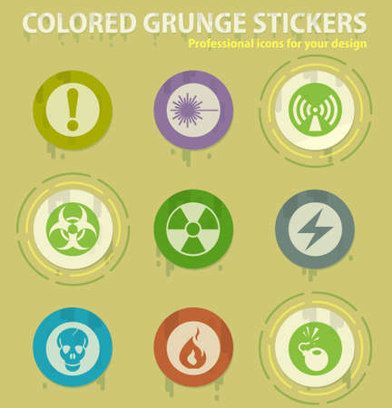 Hazard warning signscolored grunge icons with sweats glue for design web and mobile applications