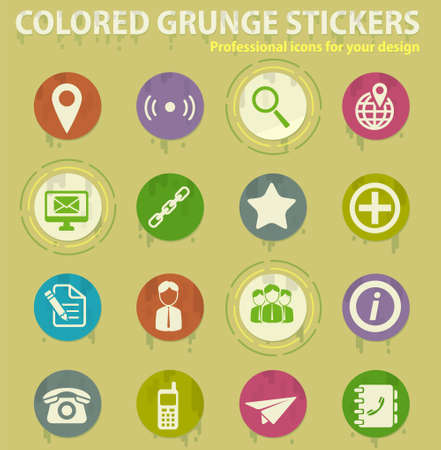 Contacts colored grunge icons with sweats glue for design web and mobile applications Illusztráció