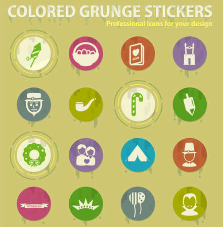 holidays colored grunge icons with sweats glue for design web and mobile applications Illustration