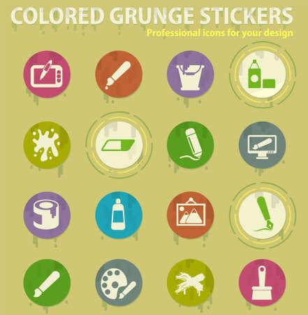 Graphic editor tools colored grunge icons with sweats glue for design web and mobile applications Ilustração