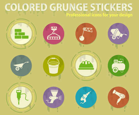 Construction colored grunge icons with sweats glue for design web and mobile applications Illustration