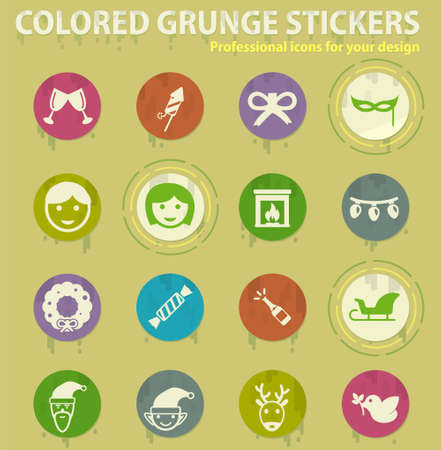 Christmas colored grunge icons with sweats glue for design web and mobile applications