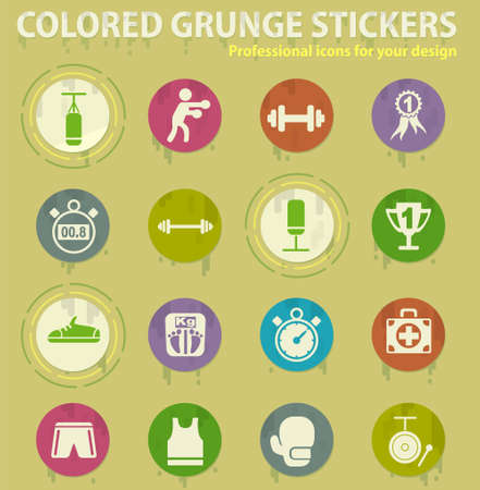 boxing colored grunge icons with sweats glue for design web and mobile applications