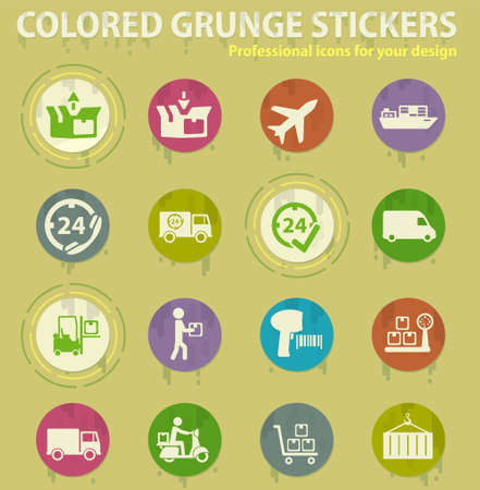 delivery service colored grunge icons with sweats glue for design web and mobile applications
