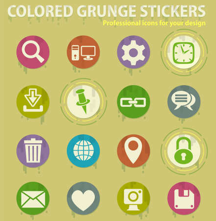 blog colored grunge icons with sweats glue for design web and mobile applications Illusztráció