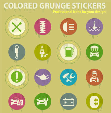 car service colored grunge icons with sweats glue for design web and mobile applications Illustration