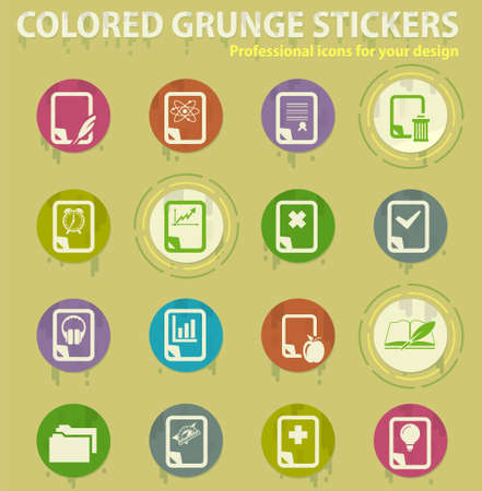 document colored grunge icons with sweats glue for design web and mobile applications