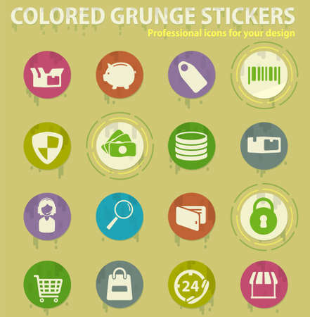 e-commerce colored grunge icons with sweats glue for design web and mobile applications