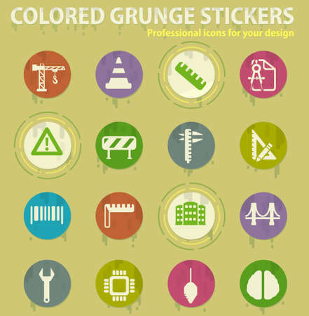 engineering colored grunge icons with sweats glue for design web and mobile applications
