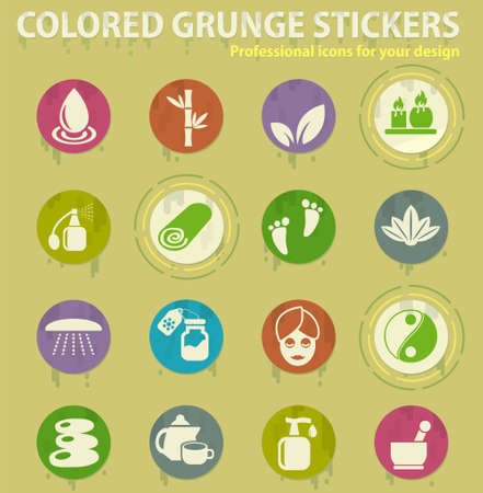beauty and spacolored grunge icons with sweats glue for design web and mobile applications