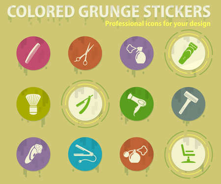 barbershop tools colored grunge icons with sweats glue for design web and mobile applications