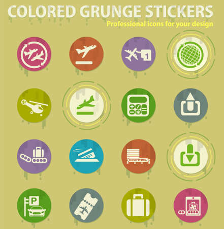 Airport and transport services colored grunge icons with sweats glue for design web and mobile applications