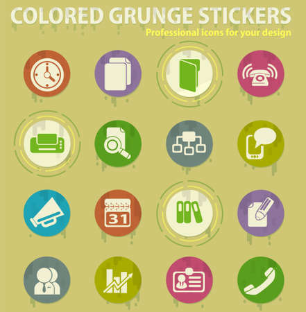 Business colored grunge icons with sweats glue for design web and mobile applications