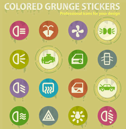 Car interface colored grunge icons with sweats glue for design web and mobile applications