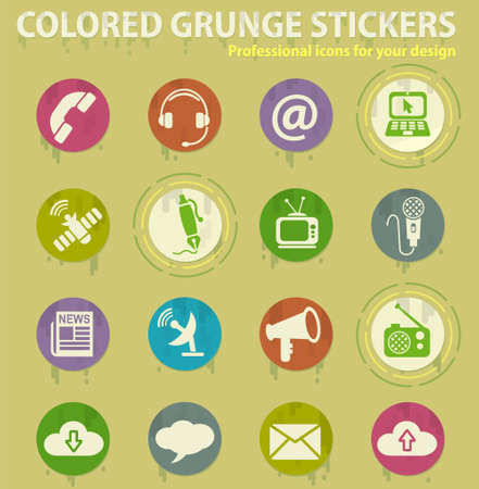 communication colored grunge icons with sweats glue for design web and mobile applications Illusztráció