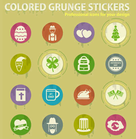 holidays colored grunge icons with sweats glue for design web and mobile applications Illusztráció