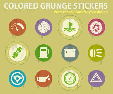 car interface colored grunge icons with sweats glue for design web and mobile applications Illustration