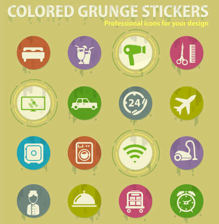 Hotel colored grunge icons with sweats glue for design web and mobile applications
