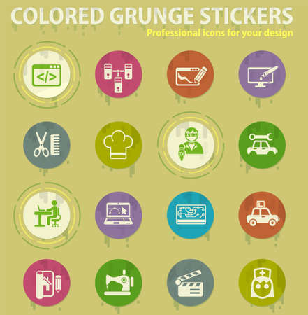 courses colored grunge icons with sweats glue for design web and mobile applications Illusztráció