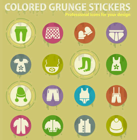 Children's clothing colored grunge icons with sweats glue for design web and mobile applications