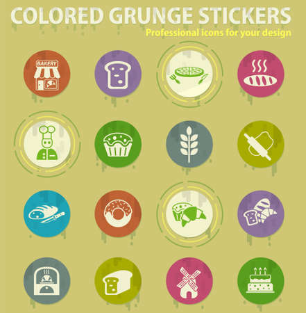 bakery colored grunge icons with sweats glue for design web and mobile applications Illustration
