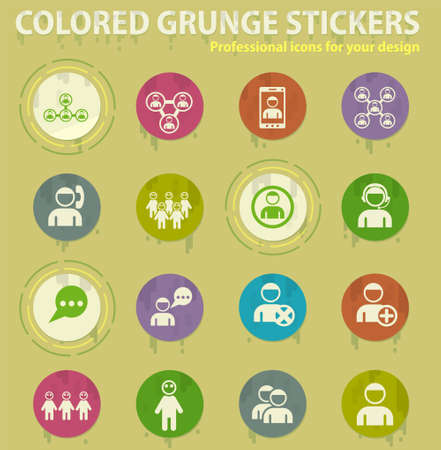 community colored grunge icons with sweats glue for design web and mobile applications