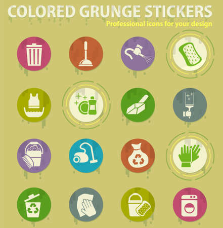 cleaning company colored grunge icons with sweats glue for design web and mobile applications Stock Illustratie