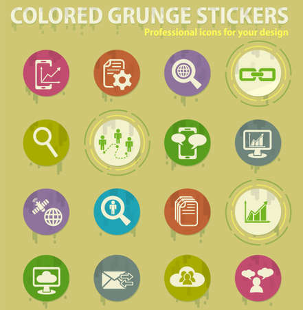 Data analytic and social network colored grunge icons with sweats glue for design web and mobile applications
