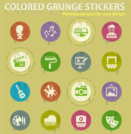 art colored grunge icons with sweats glue for design web and mobile applications
